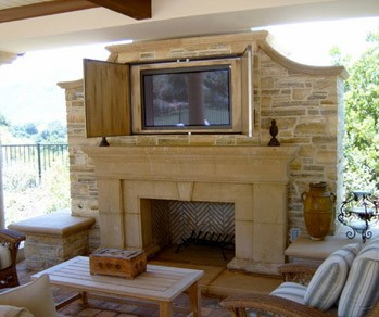 covered porch with tv cabinet